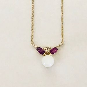 14K Gold Genuine Natural Pearl w/Garnets & Diamond